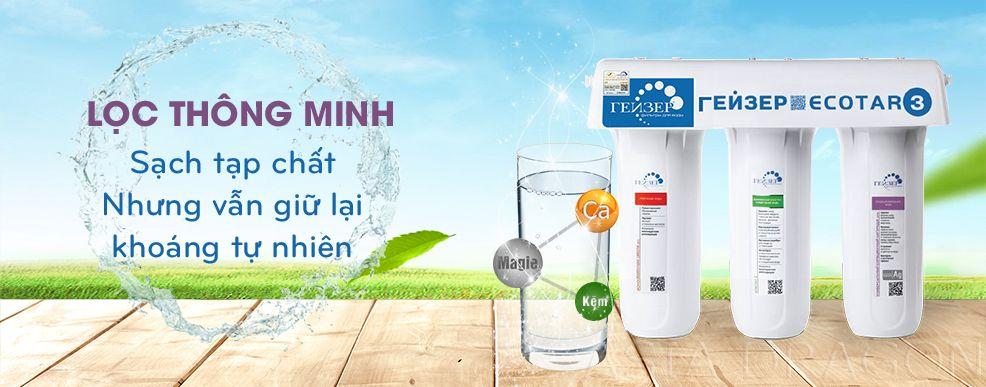 Máy lọc nước Ecotar 3 lọc sạch vi khuẩn kim loại nhưng vẫn giữ lại khoáng chất tự nhiên trong nước