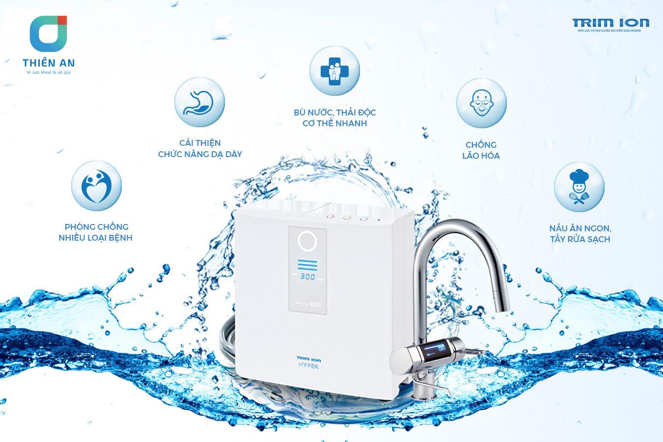 Máy lọc nước ion kiềm Trim ion là thương hiệu chiếm 65% thị phần của Nhật